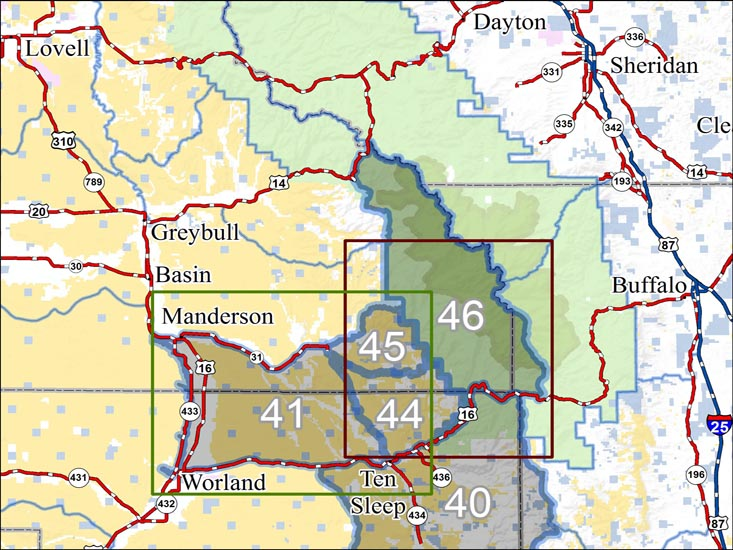 Wyoming deer unit 41 sand creek hunting diy hunting maps for Wyoming non resident fishing license